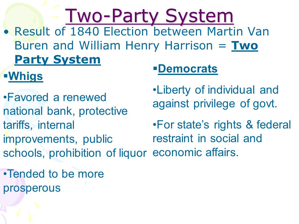 Two-Party System Result of 1840 Election between Martin Van Buren and William Henry Harrison = Two Party System.