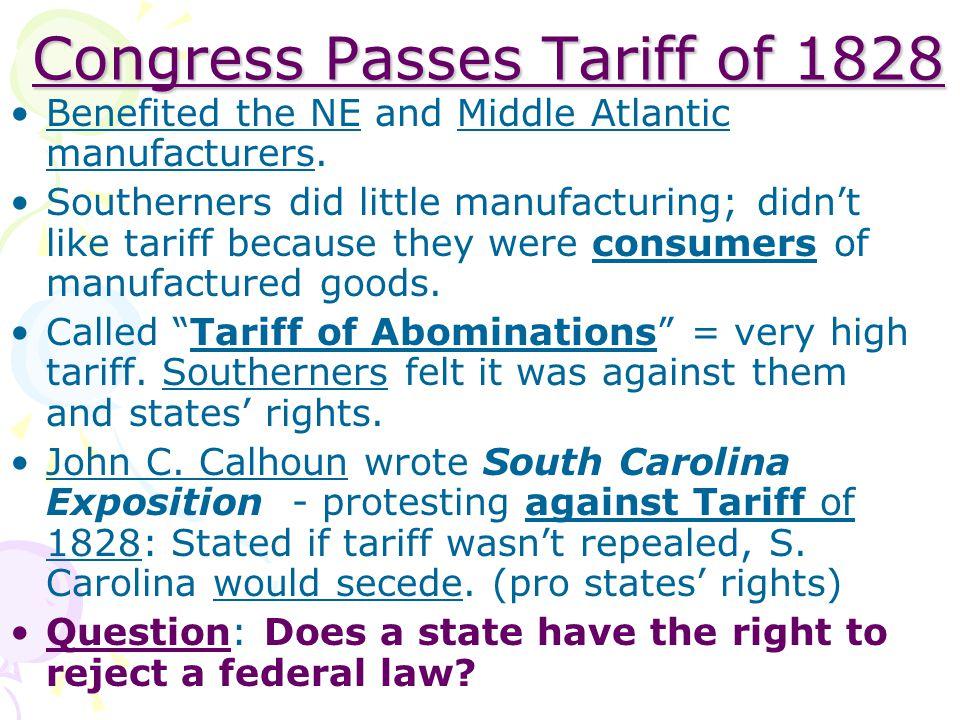 Congress Passes Tariff of 1828