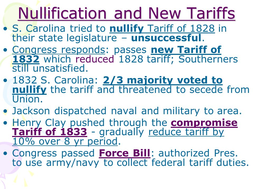 Nullification and New Tariffs