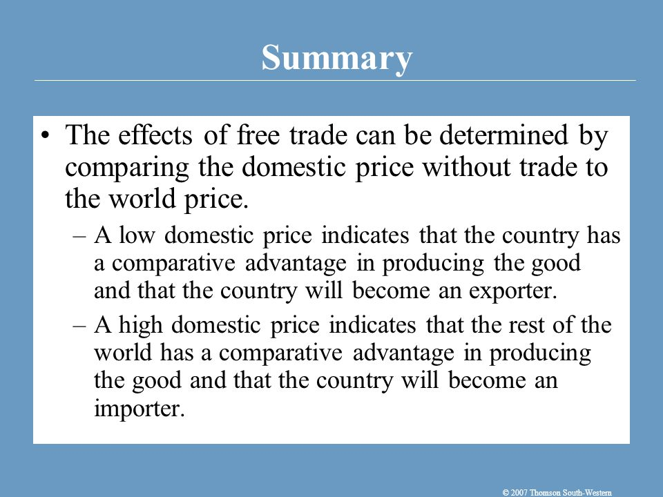 When a country allows trade and becomes an exporter of a good, producers of the good are better off, and consumers of the good are worse off.