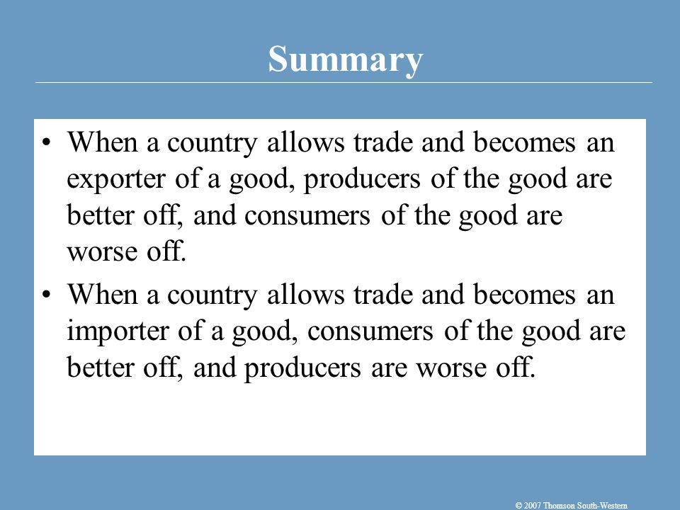 A tariff—a tax on imports—moves a market closer to the equilibrium that would exist without trade, and therefore reduces the gains from trade.