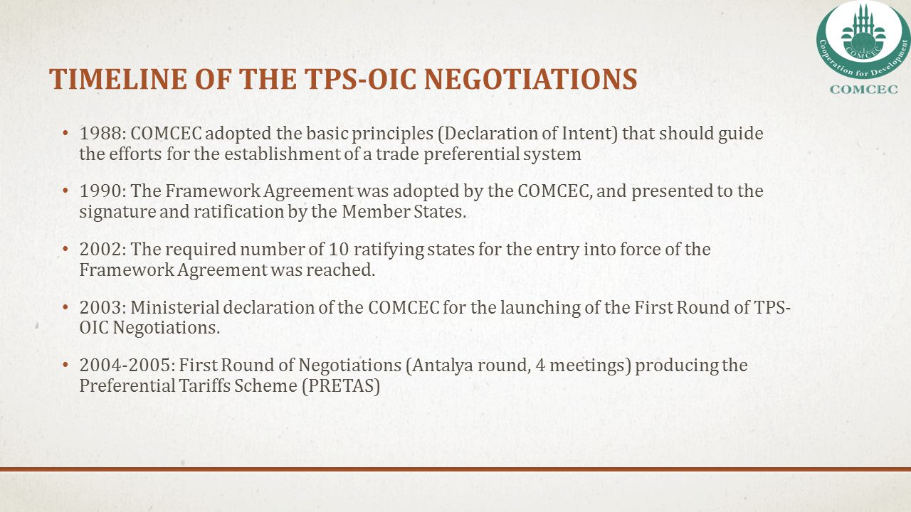 tImelIne of THE TPS-OIC NegotIatIons