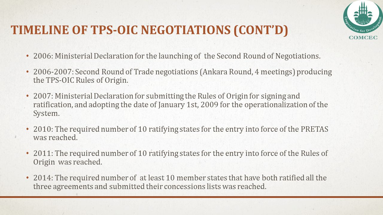 tImelIne of TPS-OIC NegotIatIons (CONt'D)