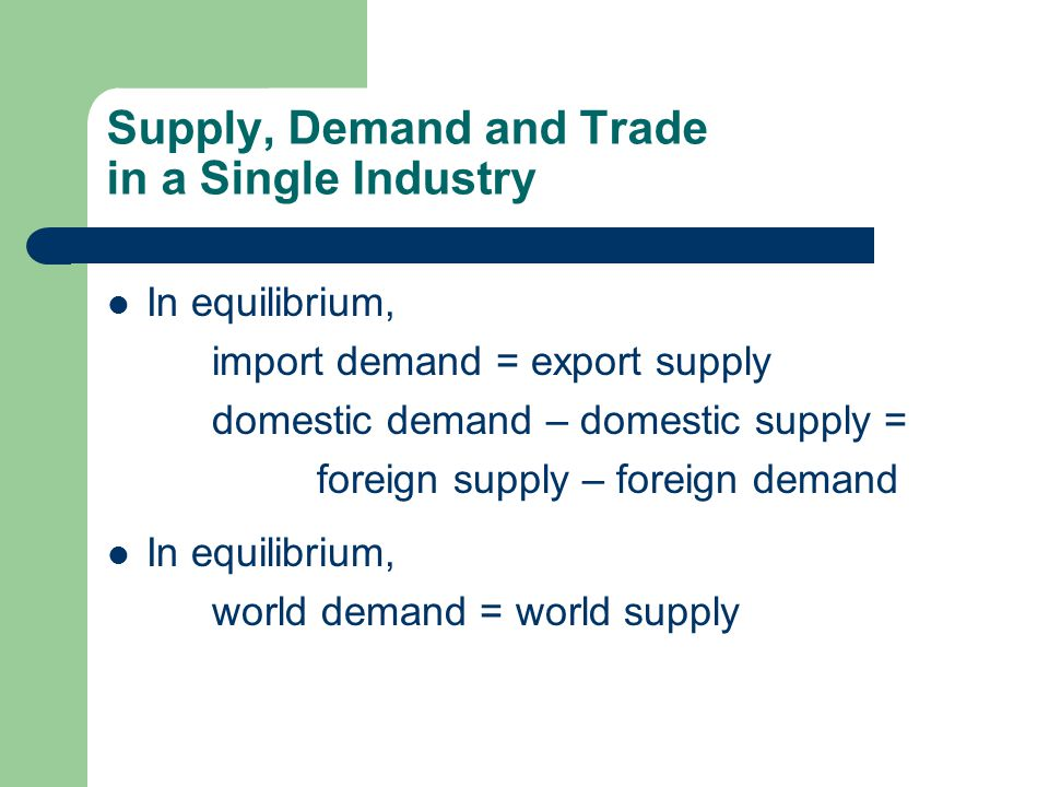Supply, Demand and Trade in a Single Industry