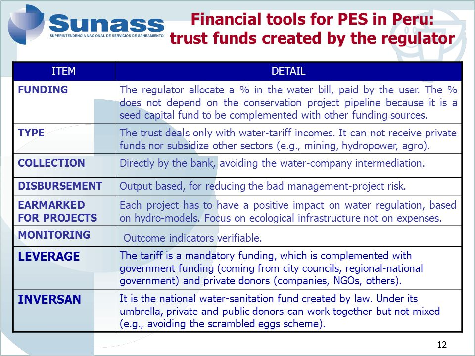 Financial tools for PES in Peru: trust funds created by the regulator
