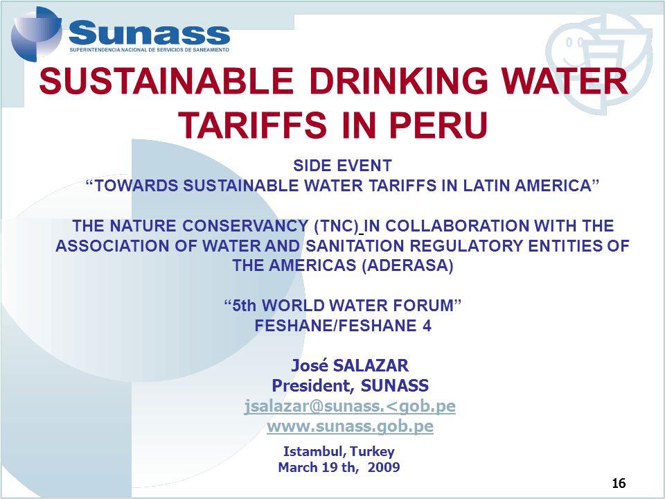 SUSTAINABLE DRINKING WATER TARIFFS IN PERU