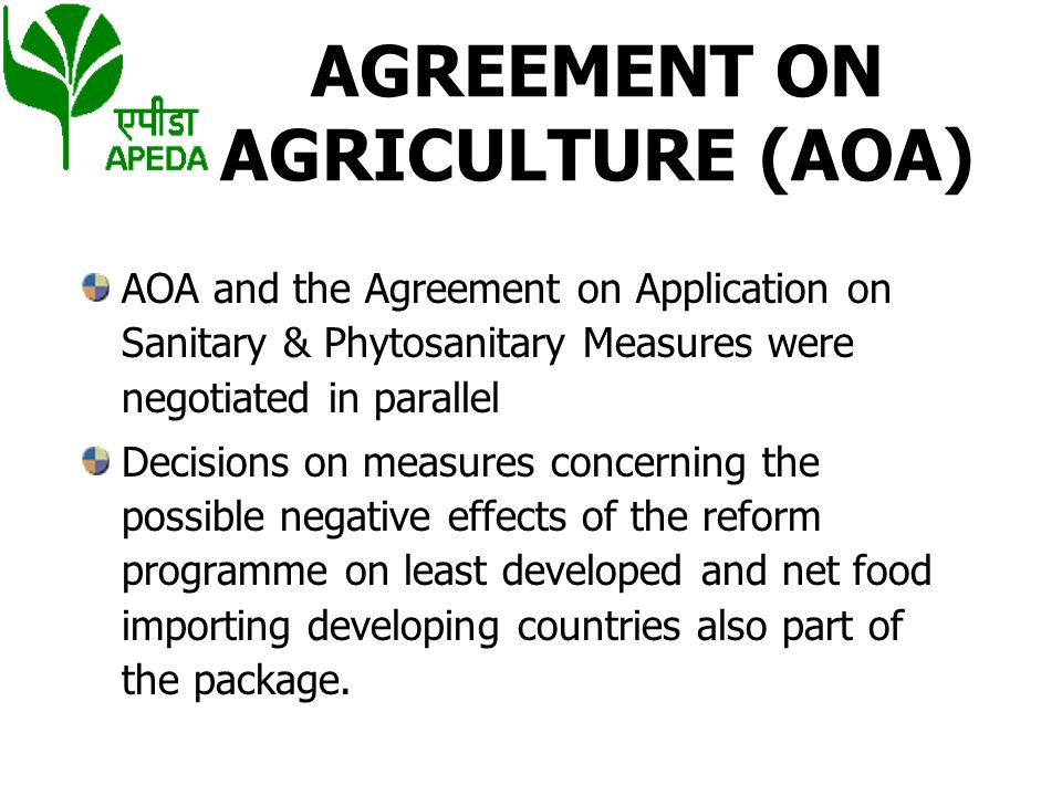 AGREEMENT ON AGRICULTURE (AOA)