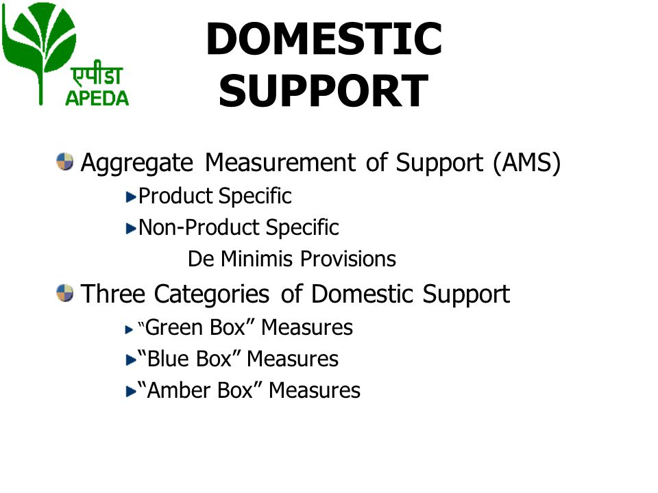 DOMESTIC SUPPORT Aggregate Measurement of Support (AMS)