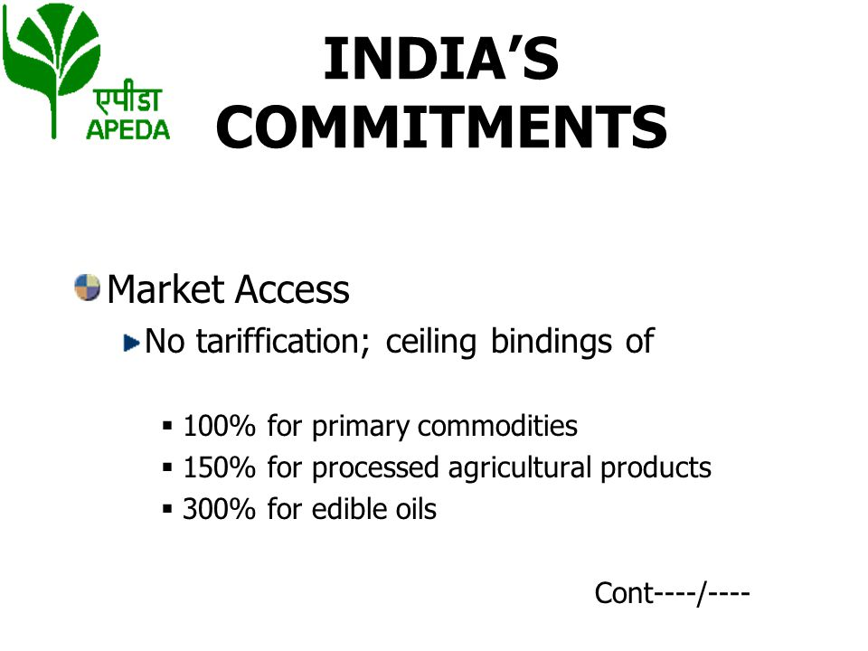 INDIA'S COMMITMENTS Market Access