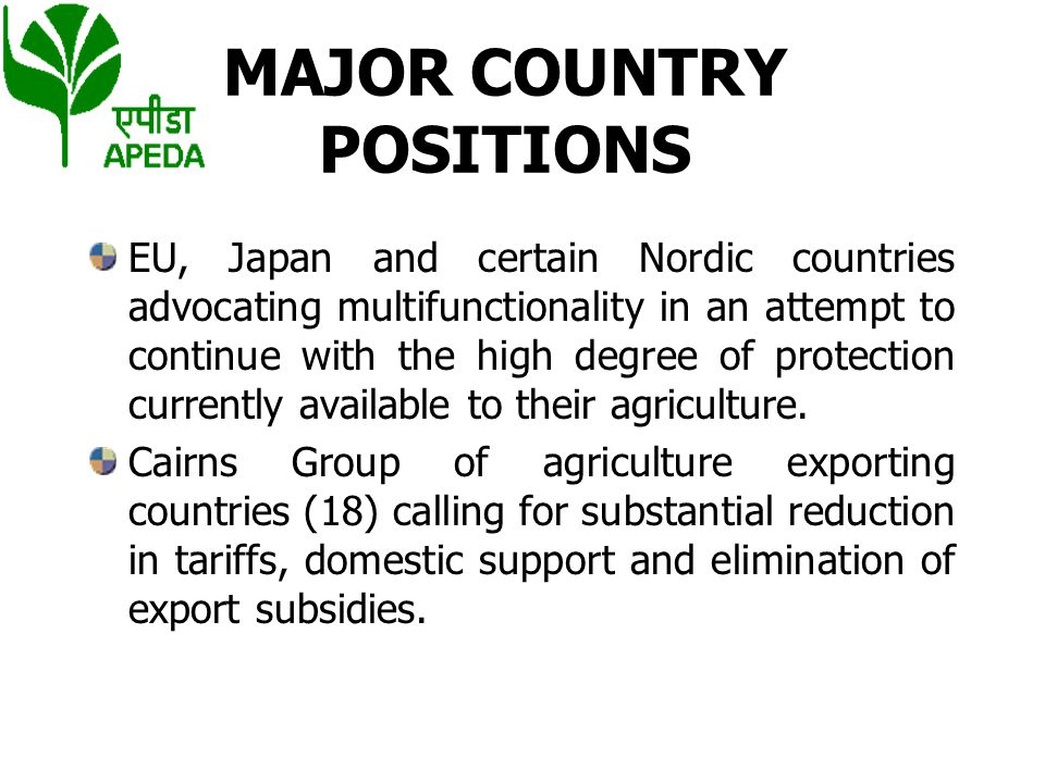 MAJOR COUNTRY POSITIONS