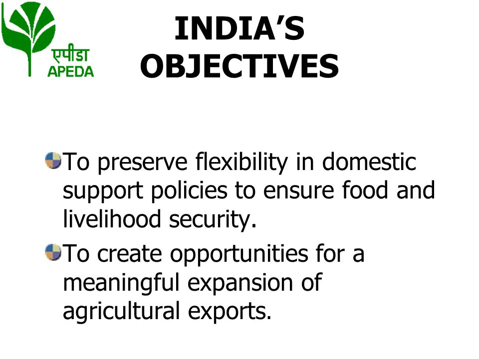 INDIA'S OBJECTIVES To preserve flexibility in domestic support policies to ensure food and livelihood security.
