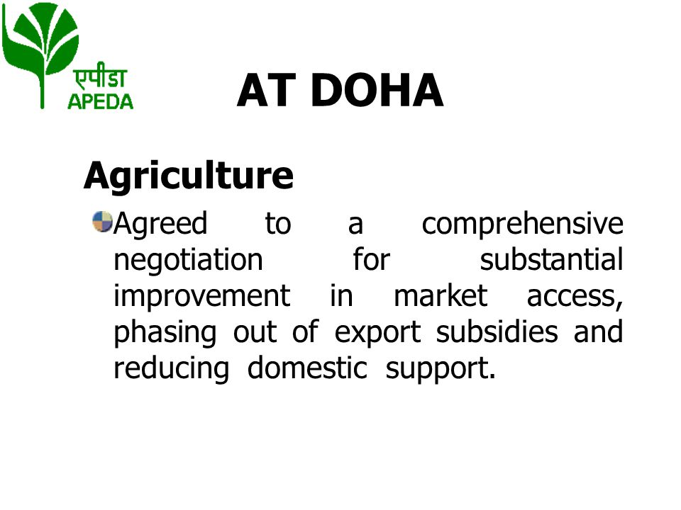 AT DOHA Agriculture.