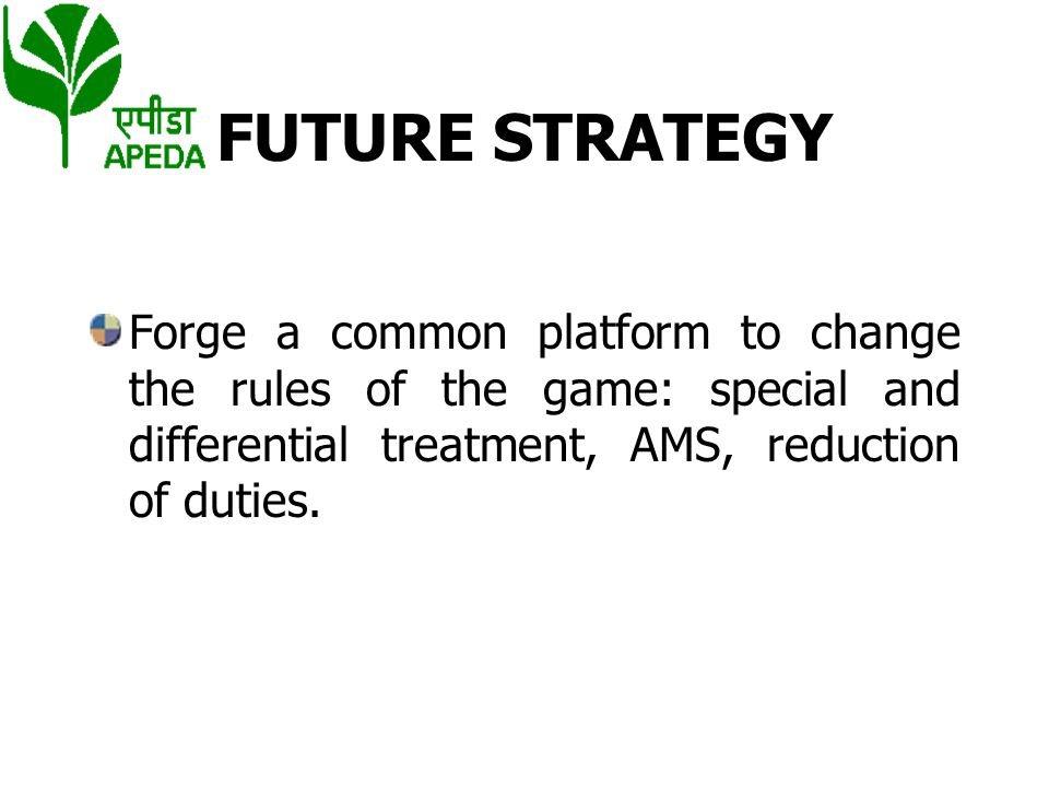 FUTURE STRATEGY Forge a common platform to change the rules of the game: special and differential treatment, AMS, reduction of duties.