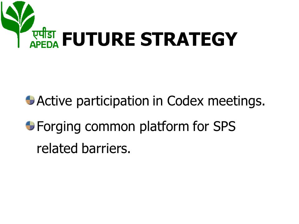 FUTURE STRATEGY Active participation in Codex meetings.