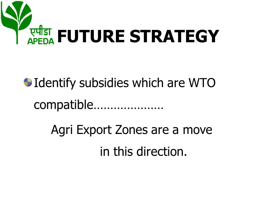 FUTURE STRATEGY Identify subsidies which are WTO compatible…………………
