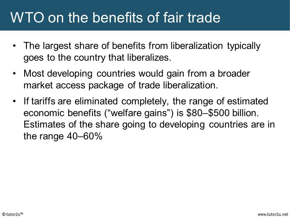 WTO on the benefits of fair trade