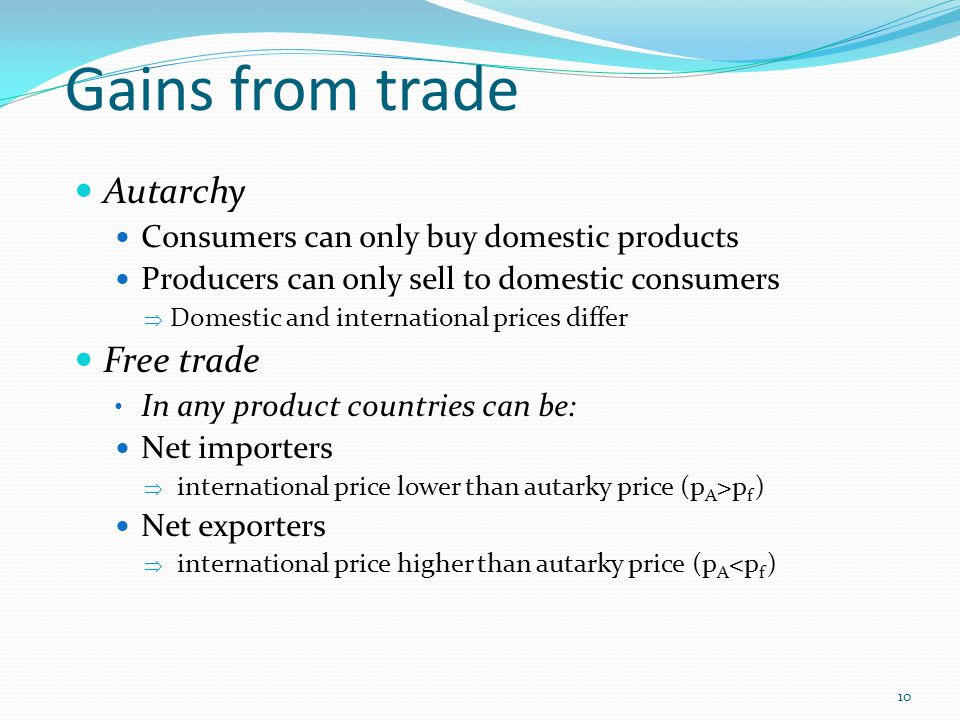 Gains from trade Autarchy Free trade