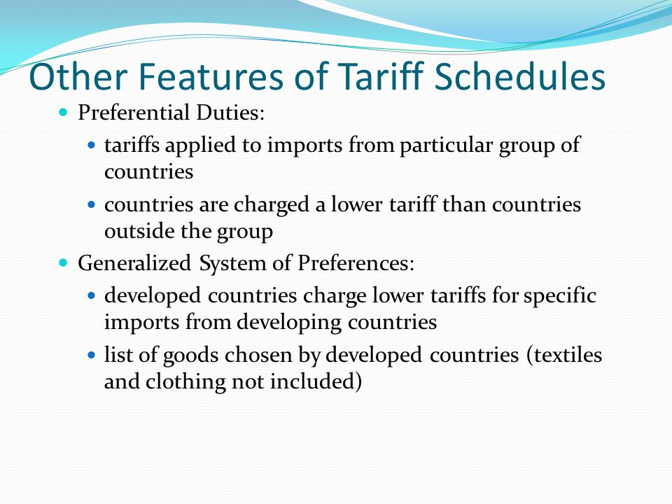 Other Features of Tariff Schedules