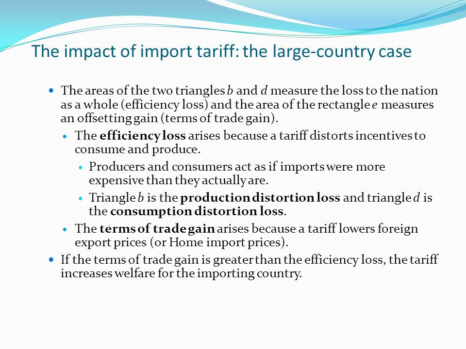 The impact of import tariff: the large-country case