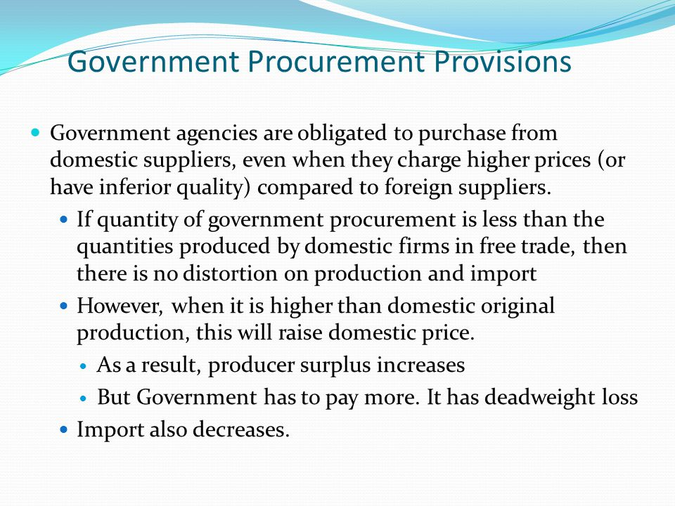 Government Procurement Provisions