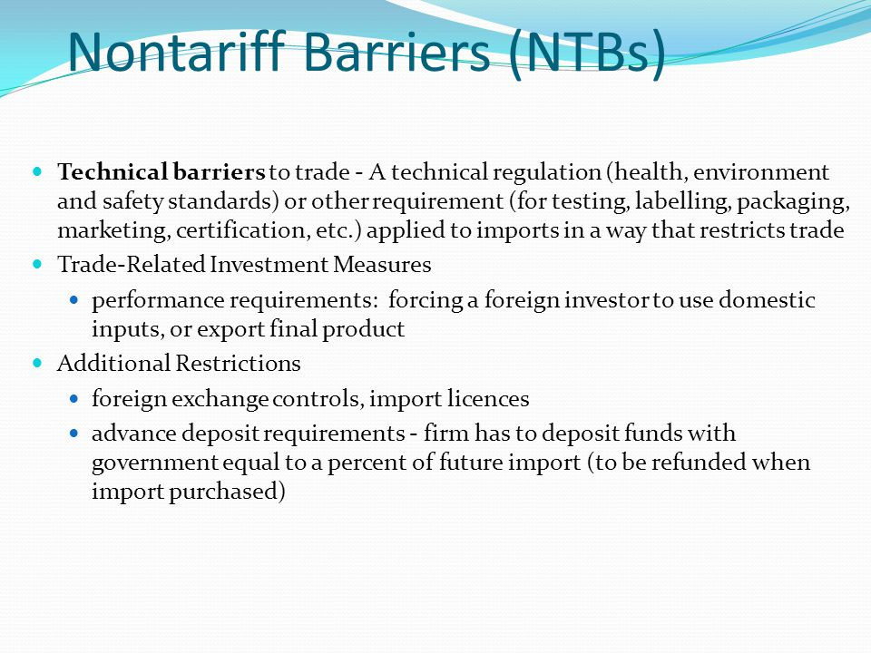 Nontariff Barriers (NTBs)