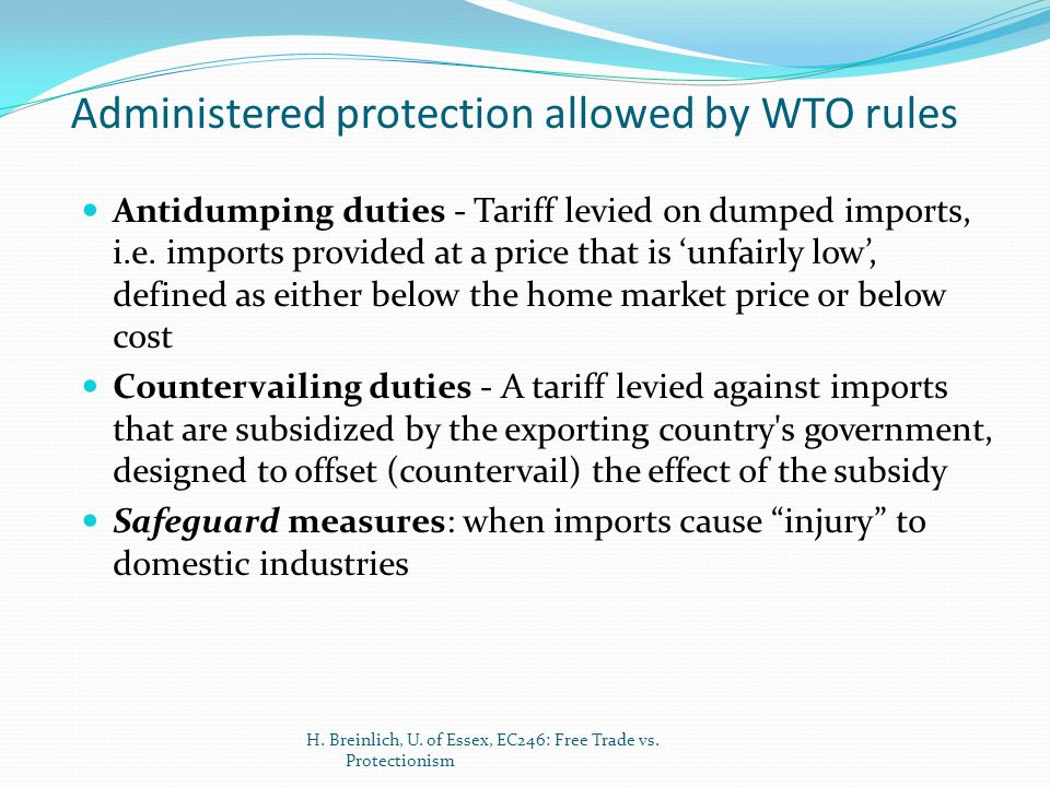 Administered protection allowed by WTO rules