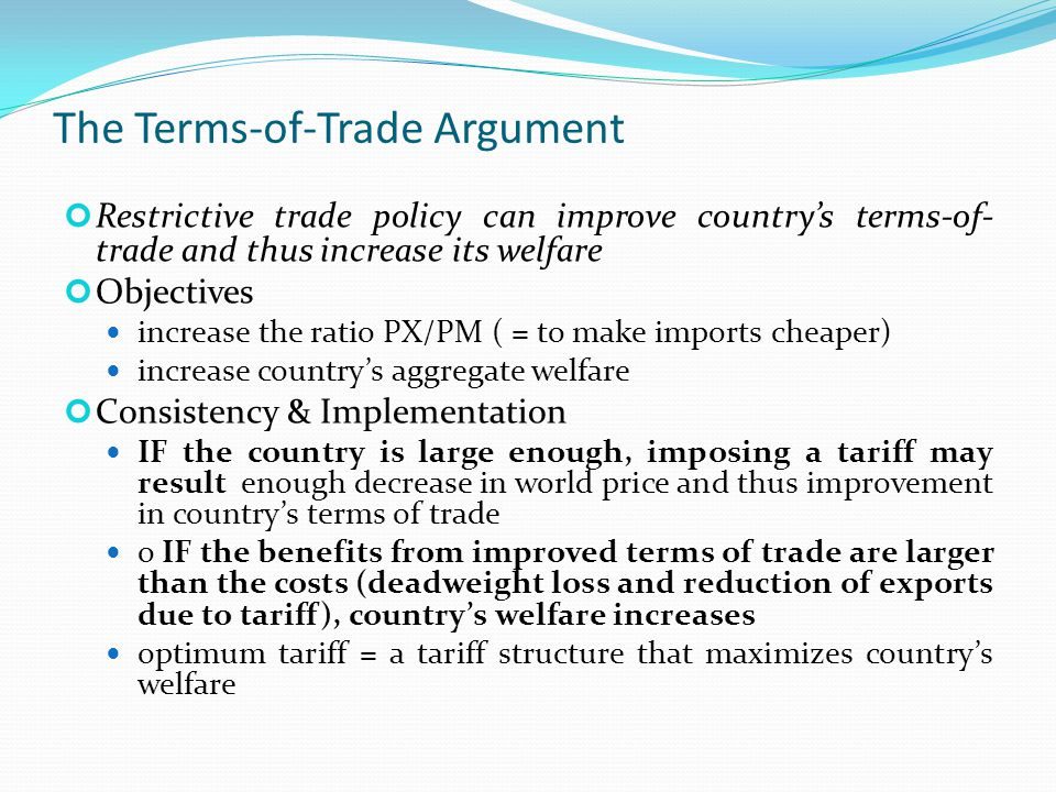 An argument against the imposition of tariffs