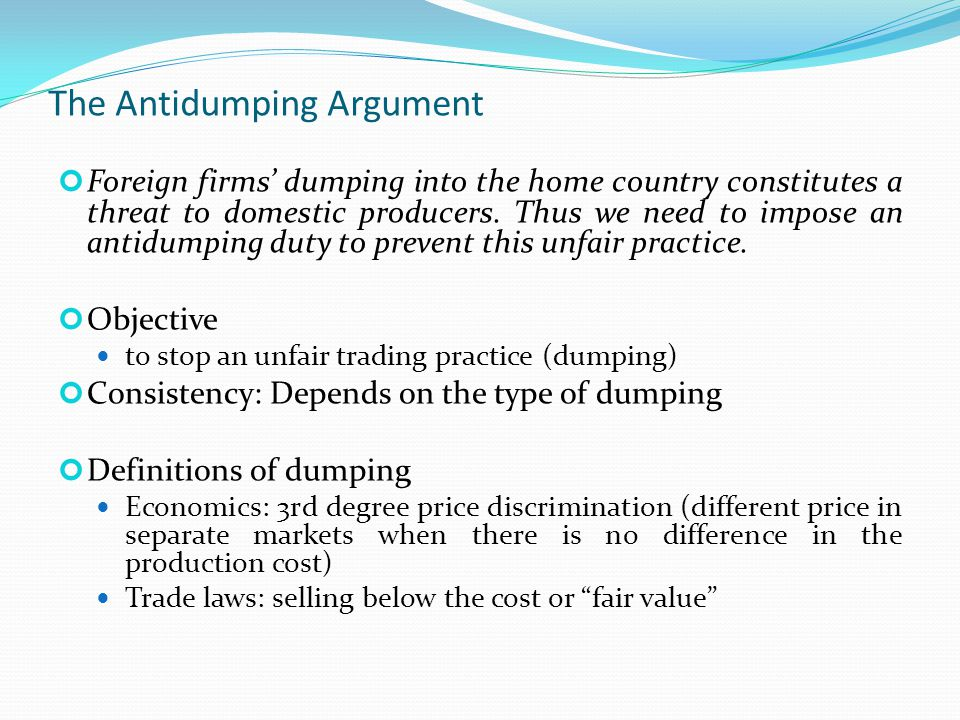 The Antidumping Argument