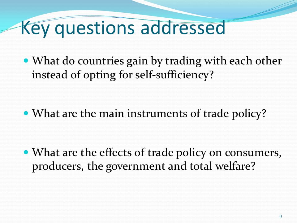 Key questions addressed