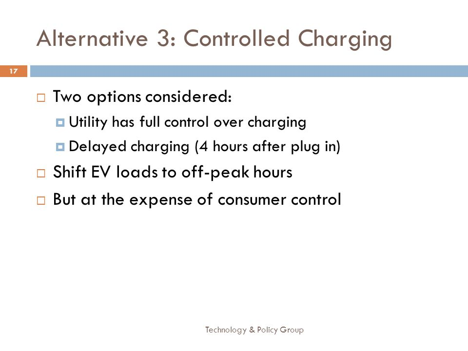 Alternative 3: Controlled Charging