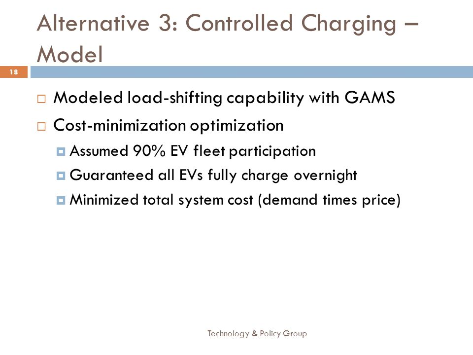 Alternative 3: Controlled Charging – Model