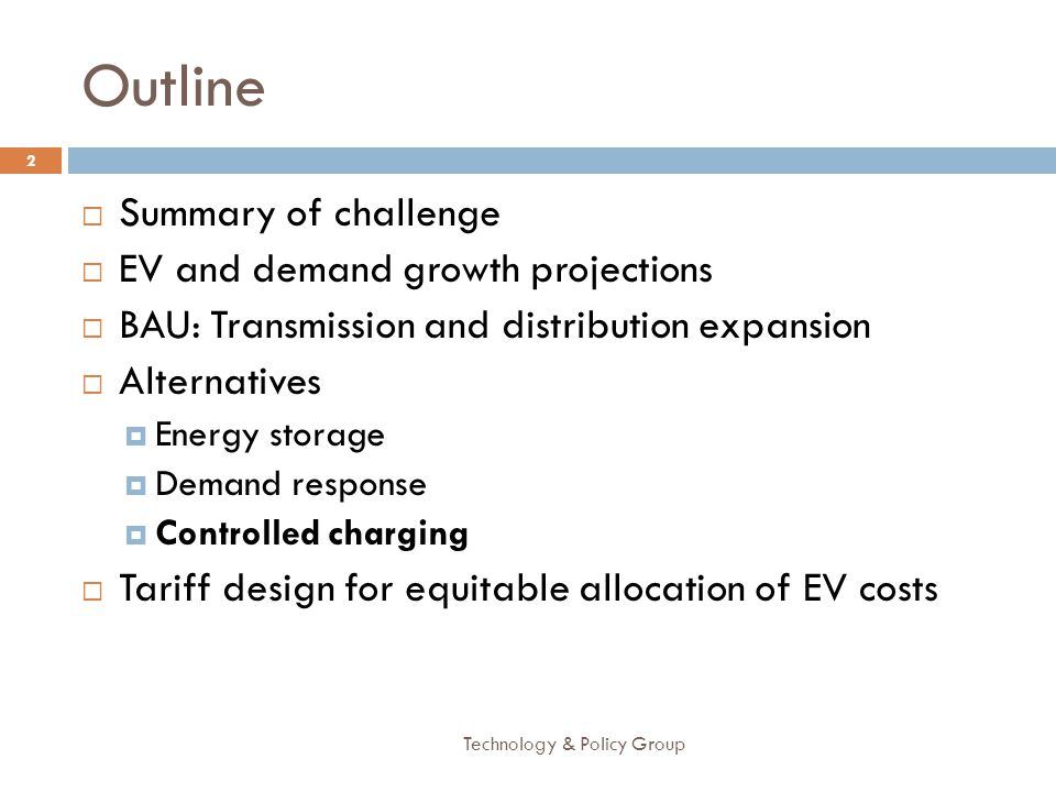 Outline Summary of challenge EV and demand growth projections