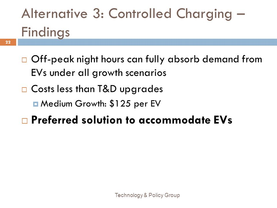 Alternative 3: Controlled Charging – Findings