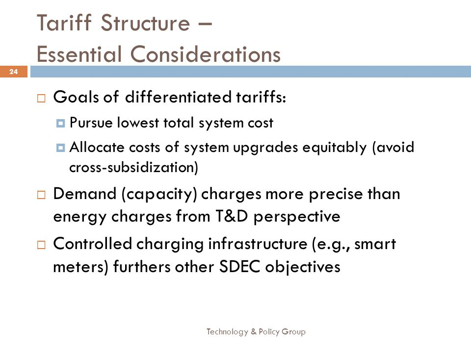 Tariff Structure – Essential Considerations