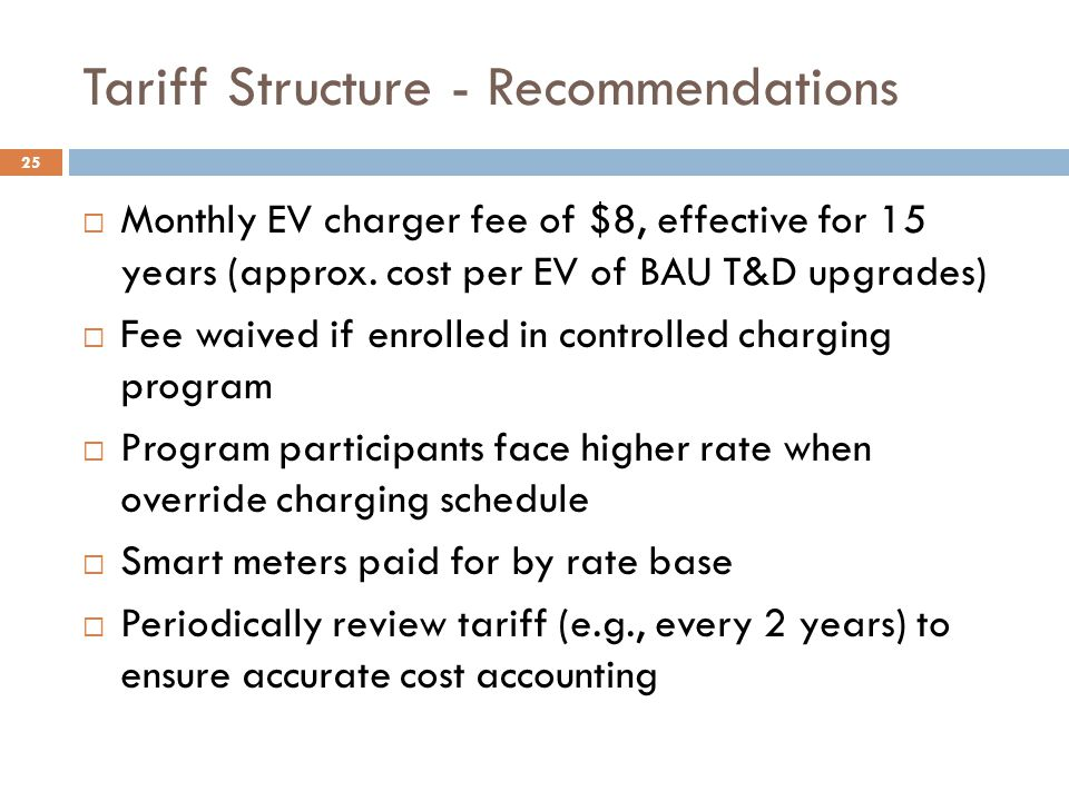 Tariff Structure - Recommendations