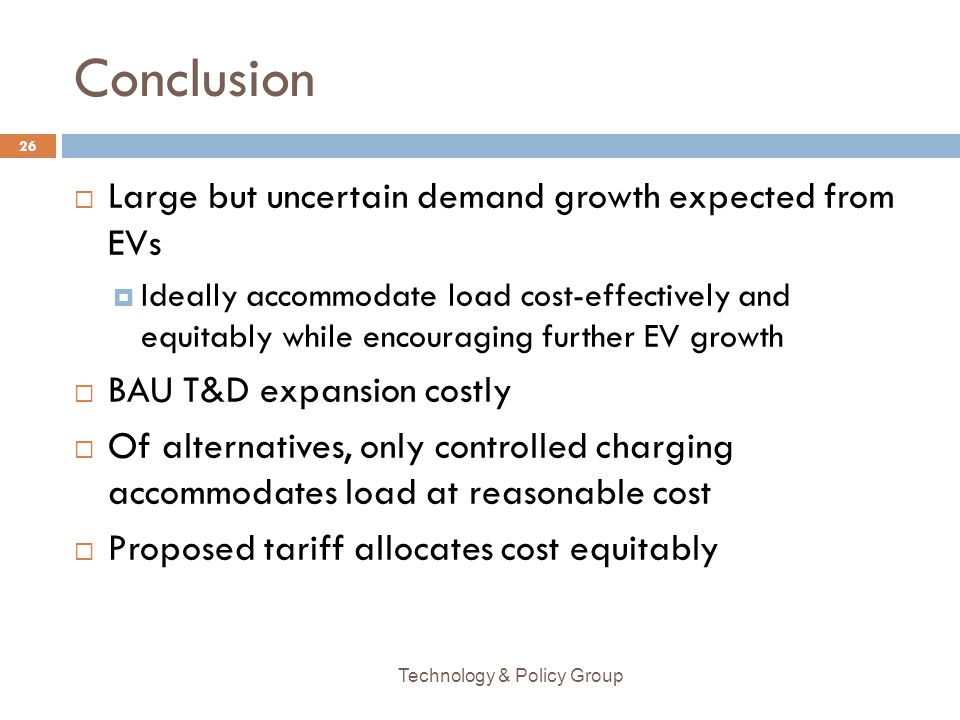 Conclusion Large but uncertain demand growth expected from EVs