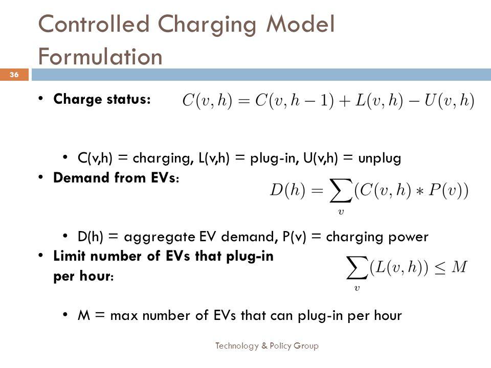 Controlled Charging Model Formulation