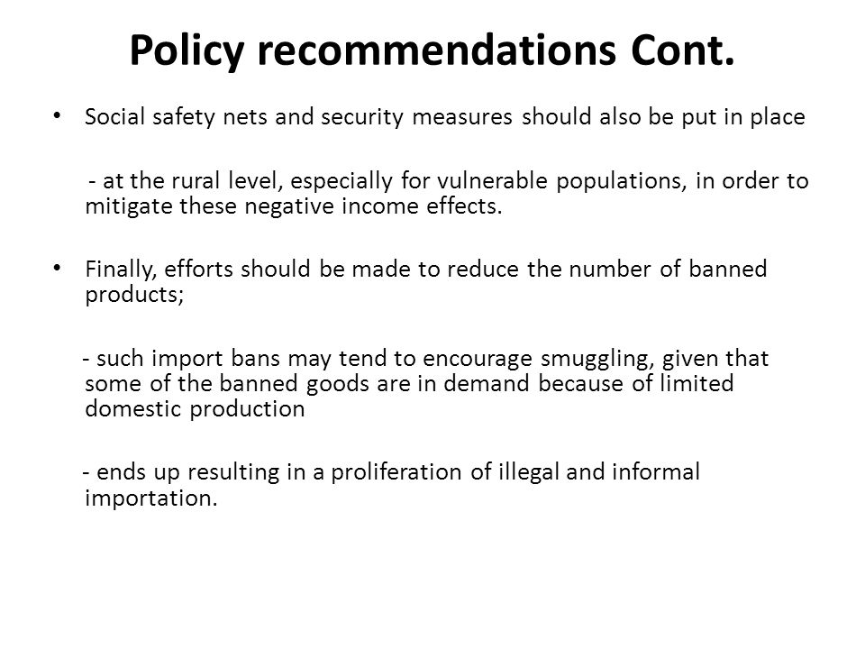 Policy recommendations Cont.
