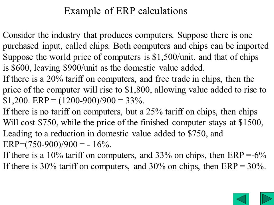 Example of ERP calculations