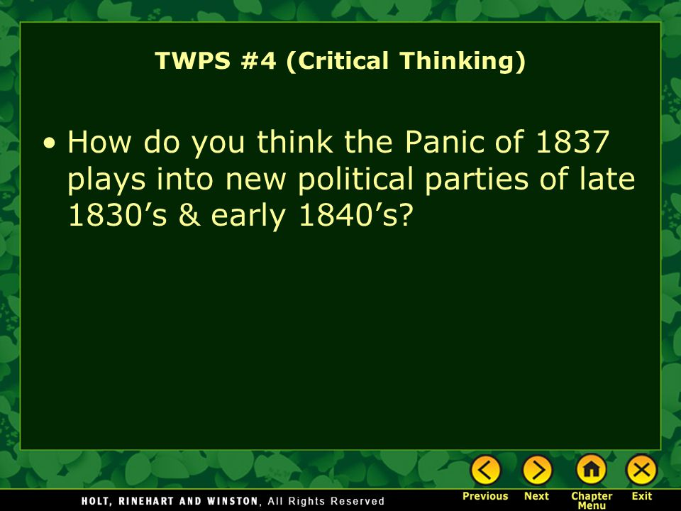 TWPS #4 (Critical Thinking)