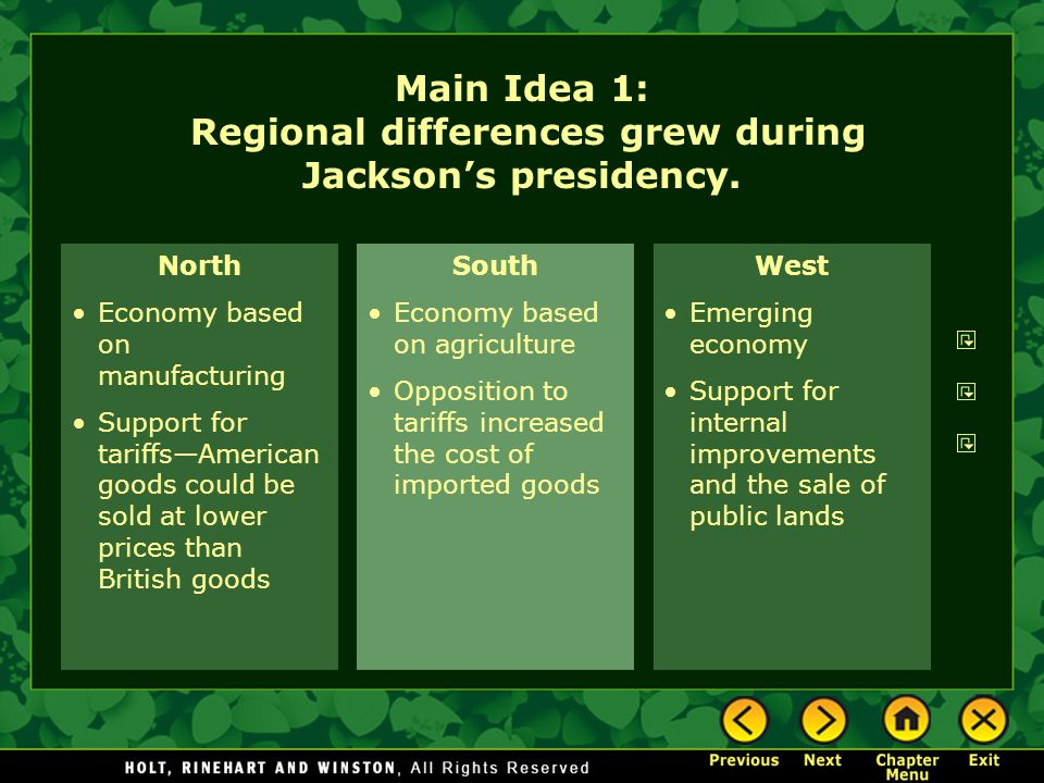 Main Idea 1: Regional differences grew during Jackson's presidency.