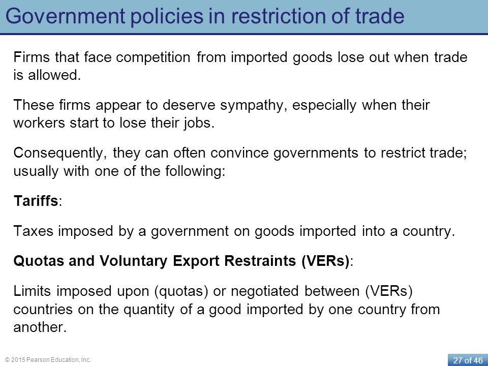 Government policies in restriction of trade