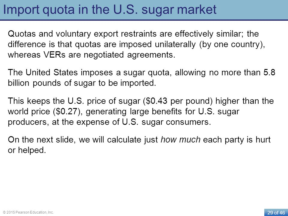 Import quota in the U.S. sugar market