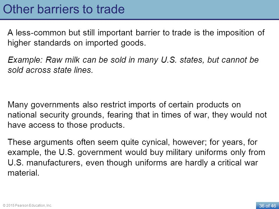 Other barriers to trade