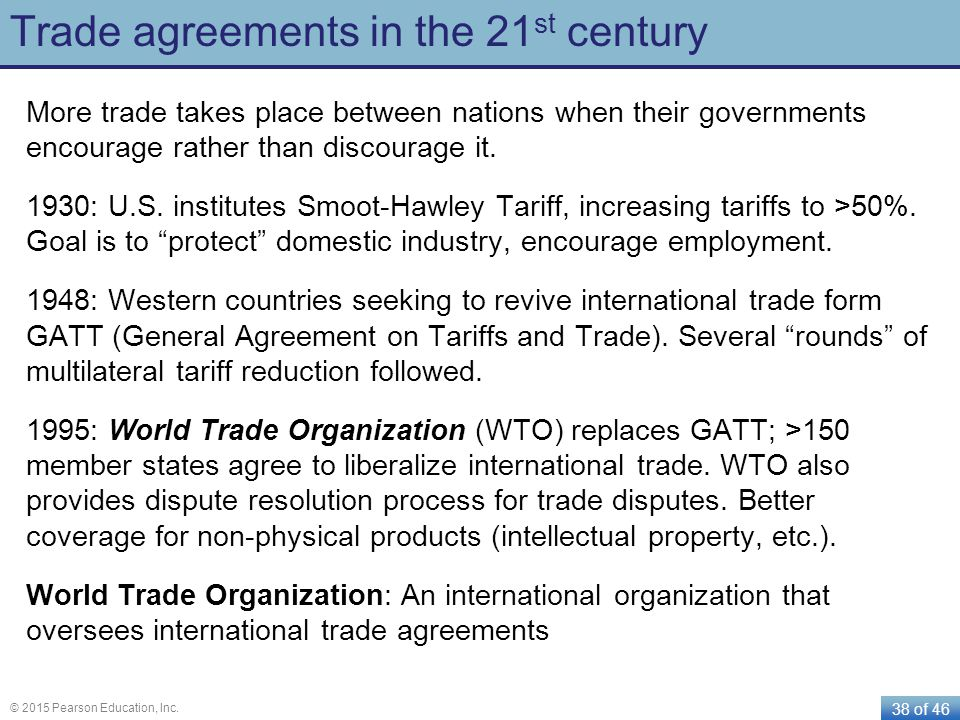 Trade agreements in the 21st century