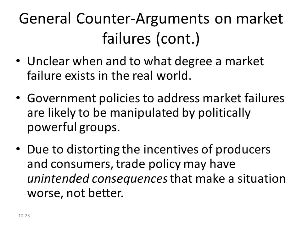 General Counter-Arguments on market failures (cont.)
