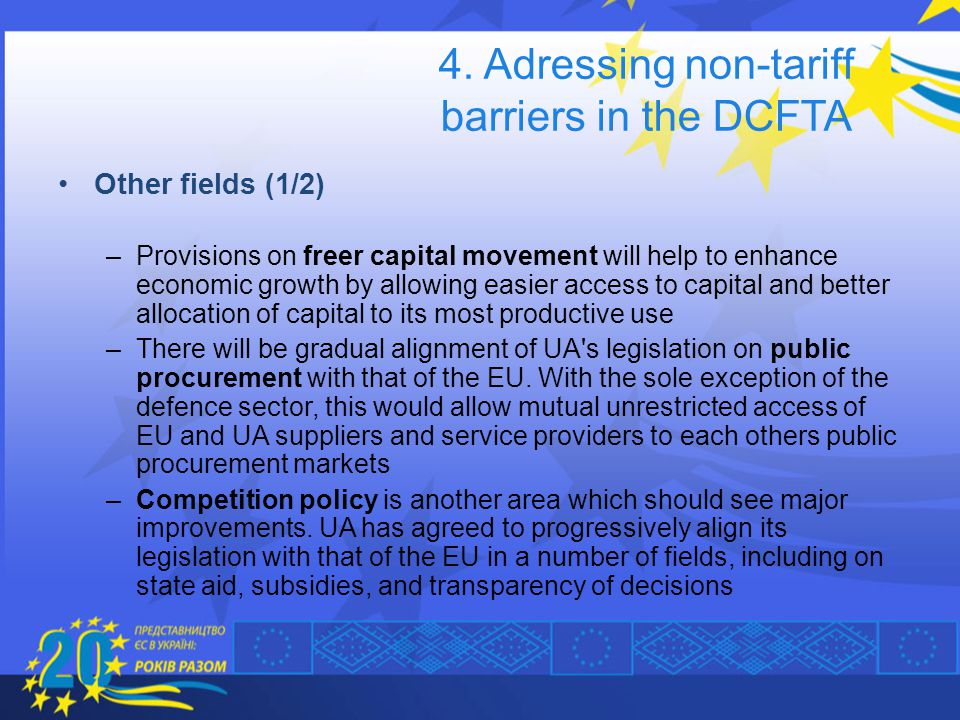 4. Adressing non-tariff barriers in the DCFTA