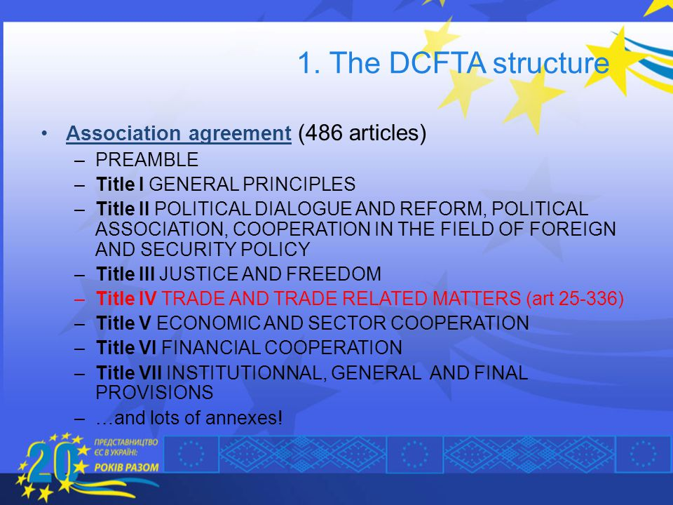 1. The DCFTA structure Association agreement (486 articles) PREAMBLE