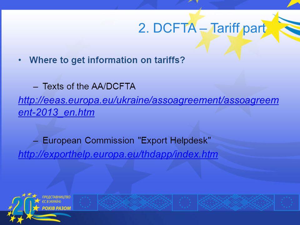 2. DCFTA – Tariff part Where to get information on tariffs Texts of the AA/DCFTA.
