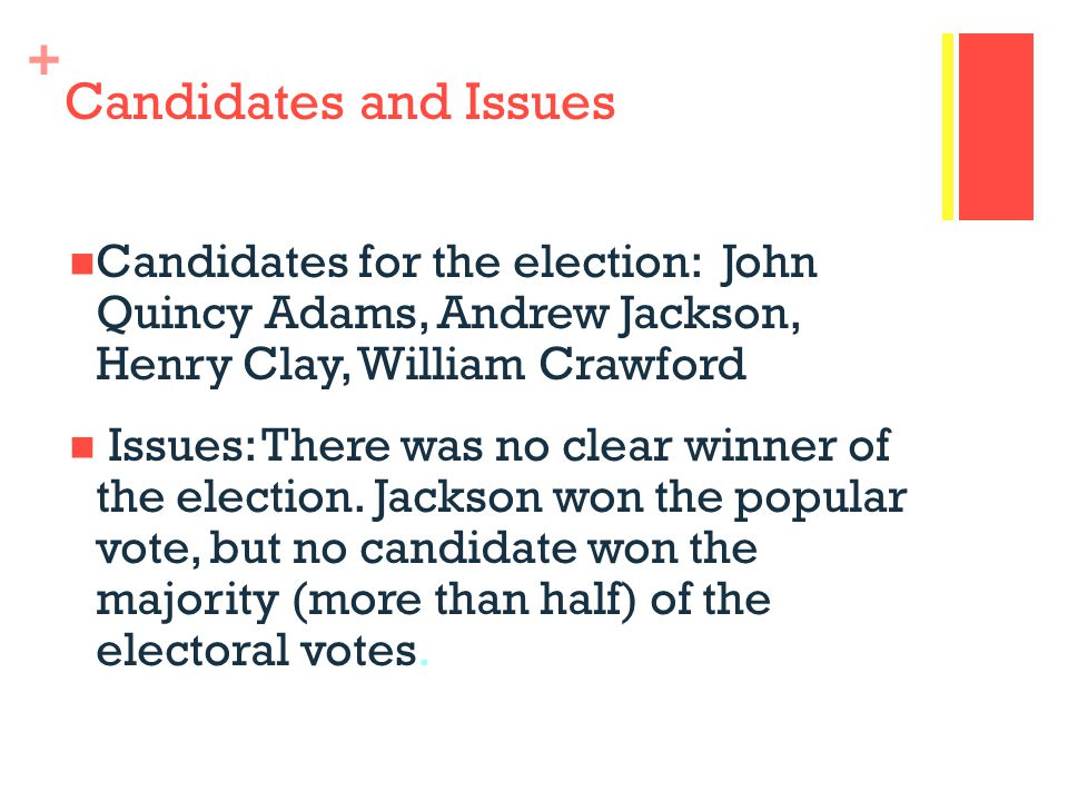 Candidates and Issues Candidates for the election: John Quincy Adams, Andrew Jackson, Henry Clay, William Crawford.